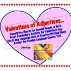 Valentine&#039;s Day Adjective Activity with Pre-write and Hear