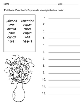 Valentine's Day Alphabetical Order / Spelling Words Worksheet