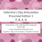 Valentine's Day Articulation Preschool Edition 1