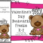Valentine's Day Bookmark Freebie K-2
