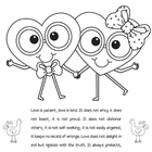Valentines Day Coloring Sheet Love is Patient Love is Kind