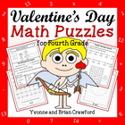 Valentine's Day Common Core Math Puzzles - 4th Grade