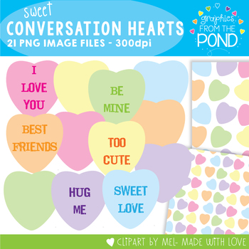 Valentines Day / Conversation Hearts Graphics + Backgrounds