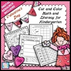Valentine's Day Cut and Color Math and Literacy for Kindergarten