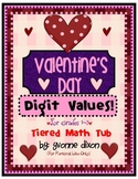 Valentine's Day Digit Values Tiered Math Tub