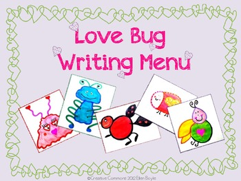 Valentine's Day Love Bug Writing Menu