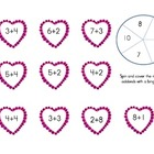 Valentine's Day Math Spinner Games (Tens Frames, Addition,