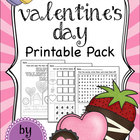Valentine&#039;s Day Math and Literacy Printable Pack