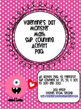 Valentine's Day Monster Math Skip Counting Activity Pack