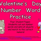 Valentine's Day Number Word Match- Kindergarten- Zero to Ten