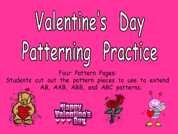 Valentine's Day Patterns Independent Practice for Kindergarten