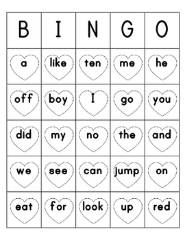 Valentines Day Sight Word Bingo Sheets Prek - 1st