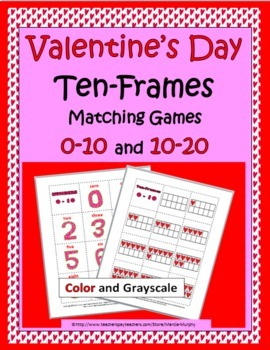 Valentine's Day Ten-Frames Matching Games 0-10 and 10-20