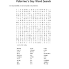 Valentine's Day Word Search for Grades 4 Through 12