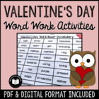 Valentine's Day Word Work Activity Packet
