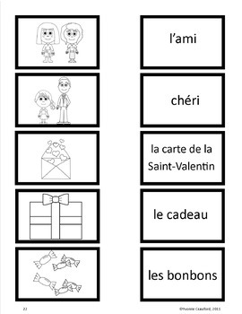 Valentine's Day in French - vocab. sheets, wks, matching &
