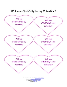 "Valentine's Day o""fish""ally be mine cards - FREE"