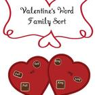Valentine&#039;s Hearts and Chocolates Word Family Sort