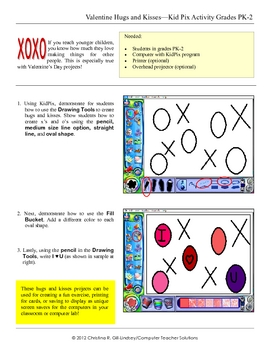 Valentine's Hugs & Kisses--KidPix Activity for Grades PK-2
