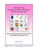 Valentines: Language Arts Following Directions and Linguis