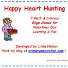 Valentines Math & Literacy Bingo Games for Skills Practice
