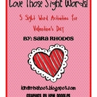 Valentine&#039;s Sight Word Activity Packet