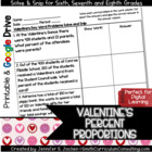 Valentine's Word Problems Solve and Snip- 6th, 7th & 8th-