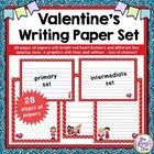 Valentine's Writing Paper with Red Heart Border & Differen