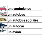 Vehicules (Vehicles in French) word wall