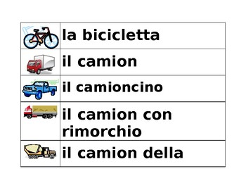 Veicoli (vehicles in Italian) word wall