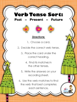 Verb Tense Sort Center