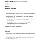 Verbs in Action Lesson Plan - Linking Verbs vs. Action Verbs
