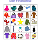 Vetements (Clothing in French) Bingo