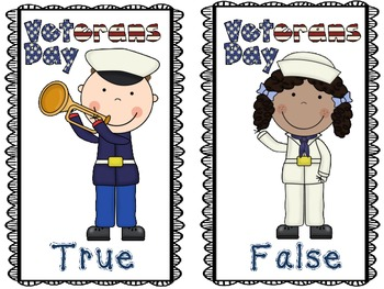 Veterans Day True & False Pocket Chart & Writing Activity
