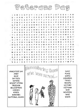 Veterans Day Word Search Puzzle / 3rd Grade / 4th Grade / 5th Grade