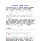 Vocabulary Building Exercises
