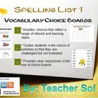 Vocabulary Choice Boards (Spelling List #1) RFS4.3