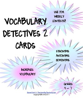 Vocabulary Detectives Task Cards 2