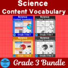 Vocabulary Development 30 Core Content Words Science Grade 3 B/W