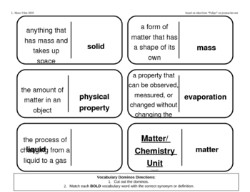 Vocabulary Dominoes - Chemistry Matter Unit