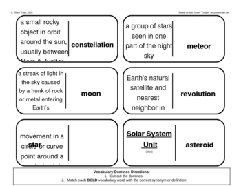 Vocabulary Dominoes - Solar System Unit