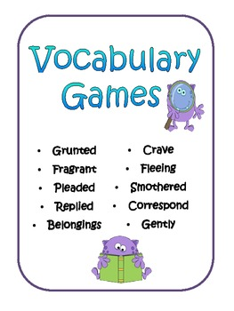 Vocabulary Games Freebie