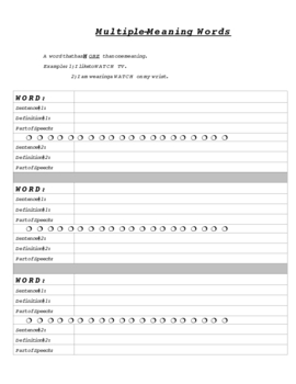 Vocabulary Instruction Packet