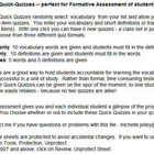Vocabulary Quick Quizzes -- Formative Assessment Tool