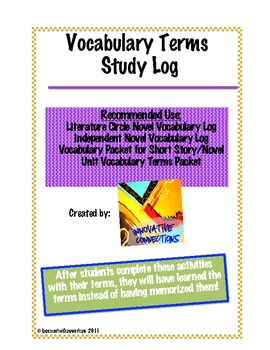 Vocabulary Word Study Pack: 7 Activities for Learning Terms