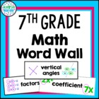 Vocabulary Word Wall - 7th Grade Math
