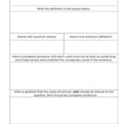 Vocabulary Worksheet - word work