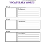 Vocabulary page