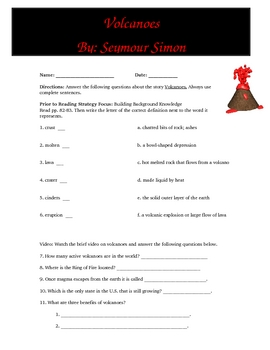 Volcanoes Reading Comprehension Guide, Activities and Key