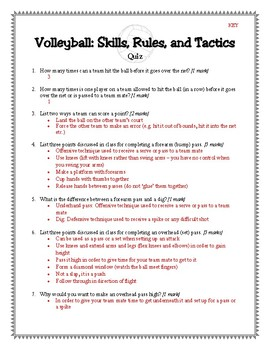 Volleyball Quiz (Includes Key)